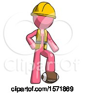 Pink Construction Worker Contractor Man Standing With Foot On Football
