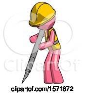 Pink Construction Worker Contractor Man Cutting With Large Scalpel