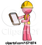 Pink Construction Worker Contractor Man Reviewing Stuff On Clipboard