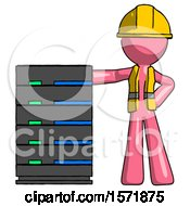 Pink Construction Worker Contractor Man With Server Rack Leaning Confidently Against It