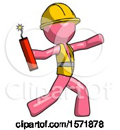 Pink Construction Worker Contractor Man Throwing Dynamite