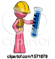 Pink Construction Worker Contractor Man Holding Large Test Tube