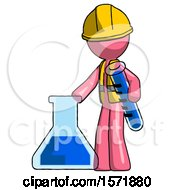 Pink Construction Worker Contractor Man Holding Test Tube Beside Beaker Or Flask