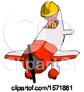 Pink Construction Worker Contractor Man In Geebee Stunt Plane Descending Front Angle View