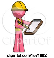 Pink Construction Worker Contractor Man Using Clipboard And Pencil