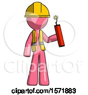 Pink Construction Worker Contractor Man Holding Dynamite With Fuse Lit
