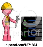 Pink Construction Worker Contractor Man Server Administrator Doing Repairs