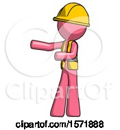 Pink Construction Worker Contractor Man Presenting Something To His Right