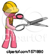 Pink Construction Worker Contractor Man Holding Giant Scissors Cutting Out Something