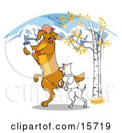 Two Dogs Walking Or Jogging Outdoors In The Fall Clipart Illustration