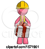 Pink Construction Worker Contractor Man Gifting Present With Large Bow Front View
