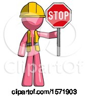 Pink Construction Worker Contractor Man Holding Stop Sign