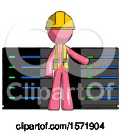 Pink Construction Worker Contractor Man With Server Racks In Front Of Two Networked Systems