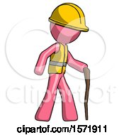 Pink Construction Worker Contractor Man Walking With Hiking Stick