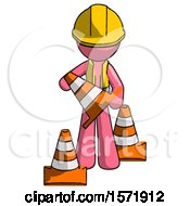 Pink Construction Worker Contractor Man Holding A Traffic Cone