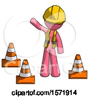 Pink Construction Worker Contractor Man Standing By Traffic Cones Waving