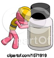 Pink Construction Worker Contractor Man Pushing Large Medicine Bottle