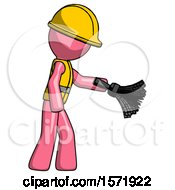 Pink Construction Worker Contractor Man Dusting With Feather Duster Downwards