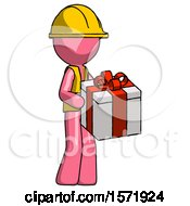 Pink Construction Worker Contractor Man Giving A Present