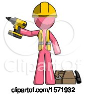 Pink Construction Worker Contractor Man Holding Drill Ready To Work Toolchest And Tools To Right