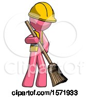 Pink Construction Worker Contractor Man Sweeping Area With Broom