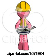 Pink Construction Worker Contractor Man Serving Or Presenting Noodles