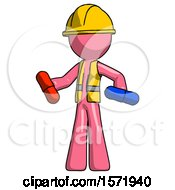 Pink Construction Worker Contractor Man Red Pill Or Blue Pill Concept