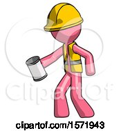 Pink Construction Worker Contractor Man Begger Holding Can Begging Or Asking For Charity Facing Left