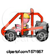 Pink Construction Worker Contractor Man Riding Sports Buggy Side View
