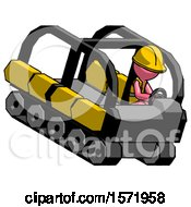 Pink Construction Worker Contractor Man Driving Amphibious Tracked Vehicle Top Angle View