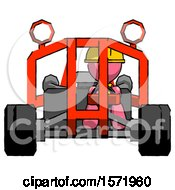 Pink Construction Worker Contractor Man Riding Sports Buggy Front View