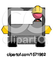 Pink Construction Worker Contractor Man Driving Amphibious Tracked Vehicle Front View