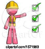 Pink Construction Worker Contractor Man Standing By List Of Checkmarks