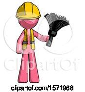 Pink Construction Worker Contractor Man Holding Feather Duster Facing Forward