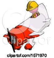 Pink Construction Worker Contractor Man In Geebee Stunt Plane Descending View