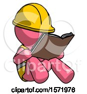 Poster, Art Print Of Pink Construction Worker Contractor Man Reading Book While Sitting Down