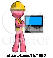 Pink Construction Worker Contractor Man Holding Laptop Computer Presenting Something On Screen