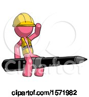 Pink Construction Worker Contractor Man Riding A Pen Like A Giant Rocket