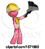Pink Construction Worker Contractor Man Dusting With Feather Duster Upwards