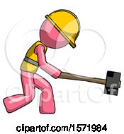 Pink Construction Worker Contractor Man Hitting With Sledgehammer Or Smashing Something