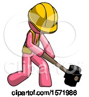 Pink Construction Worker Contractor Man Hitting With Sledgehammer Or Smashing Something At Angle
