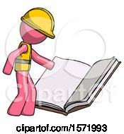 Poster, Art Print Of Pink Construction Worker Contractor Man Reading Big Book While Standing Beside It