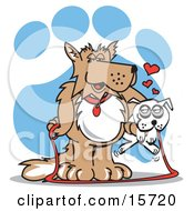 Dog Holding A Little White Dog In His Arms Clipart Illustration