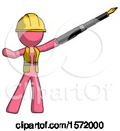 Pink Construction Worker Contractor Man Pen Is Mightier Than The Sword Calligraphy Pose