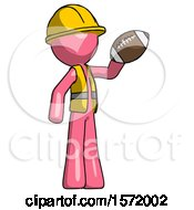 Pink Construction Worker Contractor Man Holding Football Up