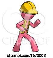 Pink Construction Worker Contractor Man Martial Arts Defense Pose Right