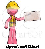 Pink Construction Worker Contractor Man Holding Large Envelope