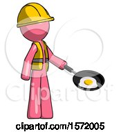 Pink Construction Worker Contractor Man Frying Egg In Pan Or Wok Facing Right