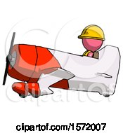 Pink Construction Worker Contractor Man In Geebee Stunt Aircraft Side View