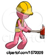 Pink Construction Worker Contractor Man With Ax Hitting Striking Or Chopping